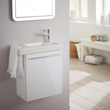 Vente Meuble Lave Mains Pour Wc Blanc Avec Porte Serviette Et Mitigeur A Droite