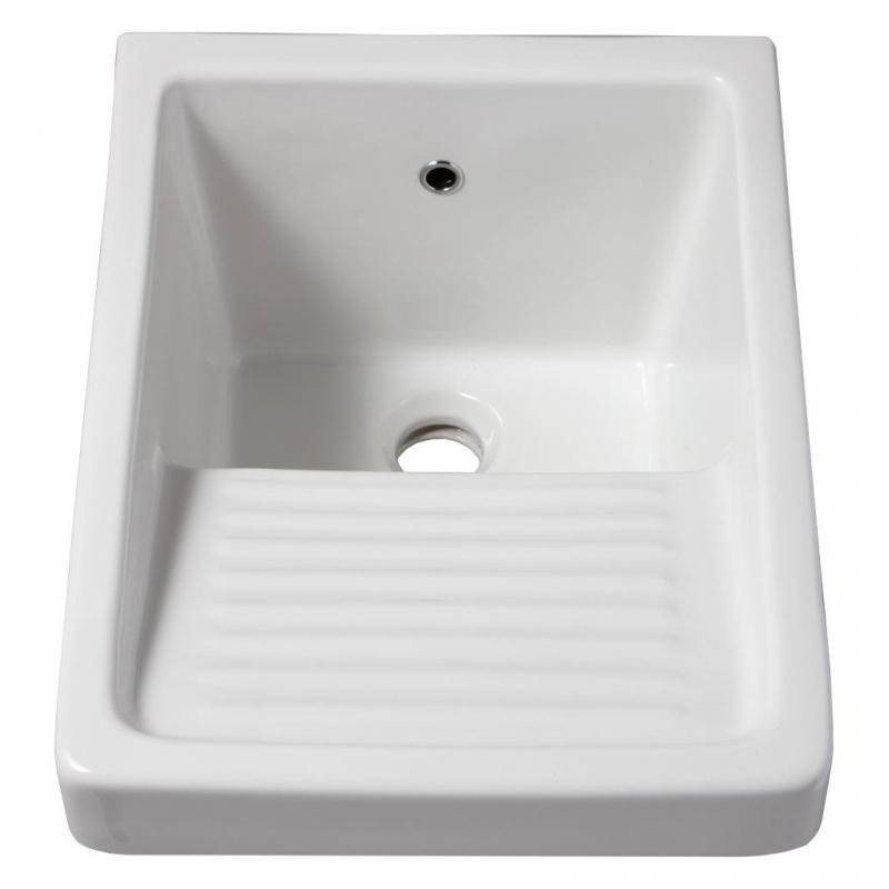 bac laver en c ramique blanche de forme carr. Black Bedroom Furniture Sets. Home Design Ideas