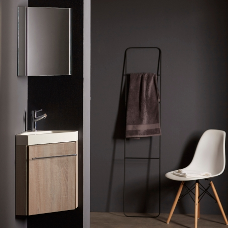 Lave-mains d'angle en solid surface avec meuble complet couleur chêne