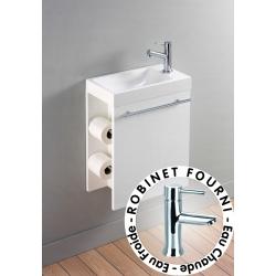 Lave-mains complet avec meuble distributeur de papier + mitigeur eau chaude/eau froide