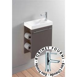 Meuble lave-mains complet avec distributeur de papier couleur taupe + mitigeur eau chaude/eau froide
