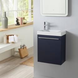 Pack lave mains bleu nuit avec robinet eau froide à gauche