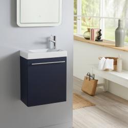 Meuble lave mains bleu nuit + Lave mains Hamac 3 + robinet eau froide à droite