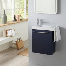 Ensemble lave-mains tout compris bleu nuit avec robinetterie eau froide à gauche