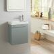 Meuble lave mains vert de gris + Lave mains Hamac  3 + robinet eau froide à droite