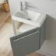 Lave-mains complet avec meuble couleur vert de gris + mitigeur eau chaude/eau froide à gauche