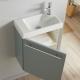 Lave-mains complet avec meuble couleur vert de gris + mitigeur eau chaude/eau froide à droite