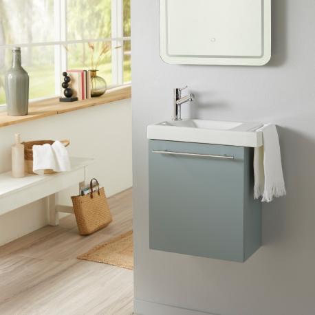 Pack lave-mains vert de gris avec porte serviette en céramique robinetterie eau froide à gauche