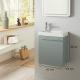 Meuble lave mains vert de gris + Lave mains Hamac  3 + robinet eau froide à gauche