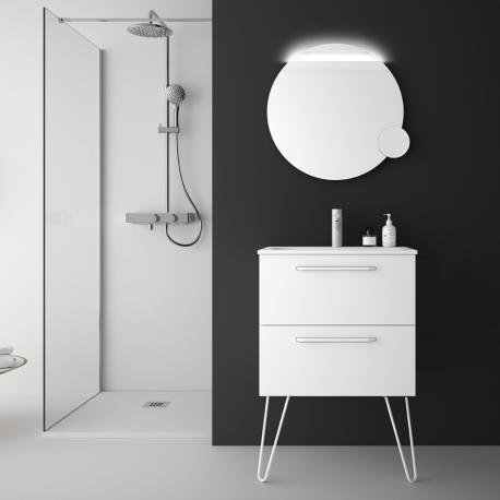 Meuble de salle de bain 60 cm couleur blanc à suspendre avec plan vasque - So matt