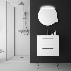 Meuble salle de bain 60 cm blanc à suspendre simple vasque avec poignets et pieds noirs - So matt