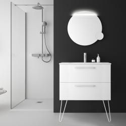 Meuble de salle de bain 80 cm couleur blanc à suspendre avec plan vasque - So matt