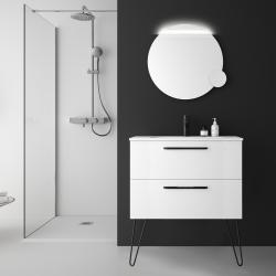 Meuble salle de bain simple vasque blanc 80 cm à suspendre avec poignets et pieds noir mat - So matt