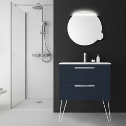 Meuble de salle de bain 80 cm couleur bleu nuit à suspendre simple vasque - So matt