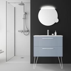 Meuble de salle de bain simple vasque à suspendre couleur bleu fog - So matt