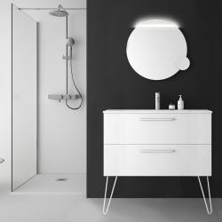Meuble de salle de bain 100 cm couleur blanc à suspendre avec plan vasque - So matt