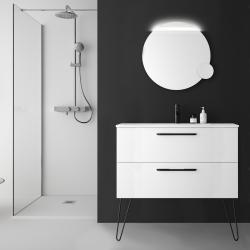 Meuble salle de bain 100 cm blanc à suspendre simple vasque avec poignets et pieds noirs - So matt