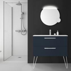 Meuble de salle de bain 100 cm couleur bleu marine à suspendre simple vasque - So matt