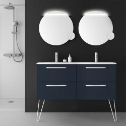 Meuble de salle de bain 120 cm couleur bleu nuit suspendre double vasque - So matt