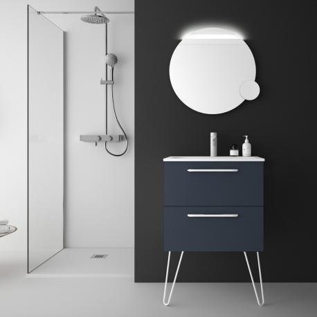 Meuble de salle de bain 60 cm couleur bleu marine à suspendre simple vasque - So matt