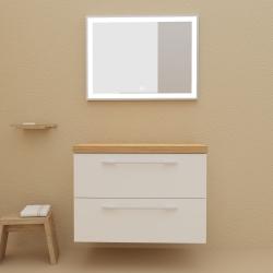 Meuble de salle de bain 80 cm couleur blanc avec plan chêne pour vasque à poser - So matt