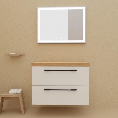 Meuble de salle de bain pour vasque à poser 80 cm couleur blanc avec plan chêne avec pieds et poignets noir mats  - So matt