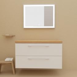 Meuble de salle de bain 100 cm couleur blanc avec plan chêne pour vasque à poser - So matt
