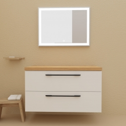 Meuble de salle de bain pour vasque à poser 100 cm couleur blanc avec plan chêne avec pieds et poignets noir mats  - So matt