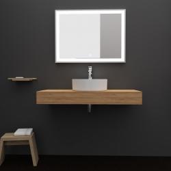 Plan de toilette 100 cm à suspendre pour vasque à poser décor chêne - Body
