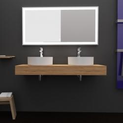 Plan de toilette 120 cm à suspendre pour vasque à poser décor chêne - Body