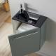 Pack lave mains suspendu vert de gris avec lave mains noir et robinet eau froide à gauche