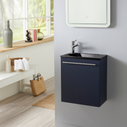 Meuble lave-mains complet avec meuble couleur bleu nuit + lave-mains noir + mitigeur eau chaude/eau froide à gauche