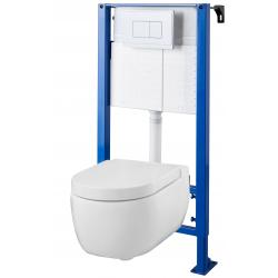 Pack WC suspendu Bâti universel avec cuvette suspendue avec abattant magnétique