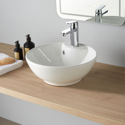 Vasque à poser ronde blanche
