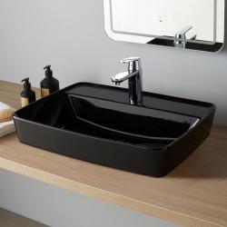 Vasque semi encastrée rectangulaire Rita Noire brillante
