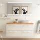 Meuble de salle de bain 120 cm couleur blanc avec plan chêne pour double vasque à poser - So matt