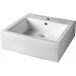 Vasque à poser carré contemporaine blanche