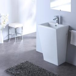 Lavabo sur pied carré Design Totem blanc