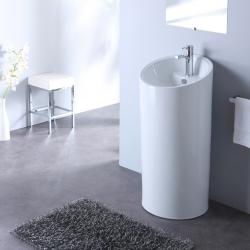 Lavabo sur pied cylindre blanc