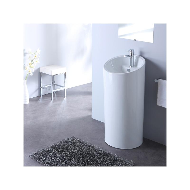 Achat de totem lavabo coloris blanc pas cher planete bain for Evier rond pas cher
