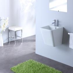Lavabo à suspendre blanc de forme épurée