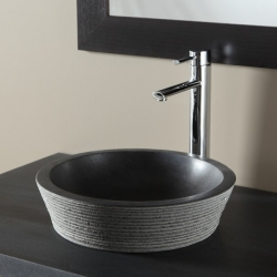 Vasque à poser en poser en pierre trés tendance noir absolu