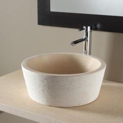 Vasque à poser haute et bouchardée en pierre naturelle beige