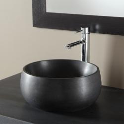 Vasque à poser  en pierre noir absolu et forme de bol