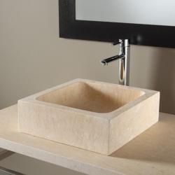 Vasque à poser rectangulaire en pierre naturelle beige égyptien