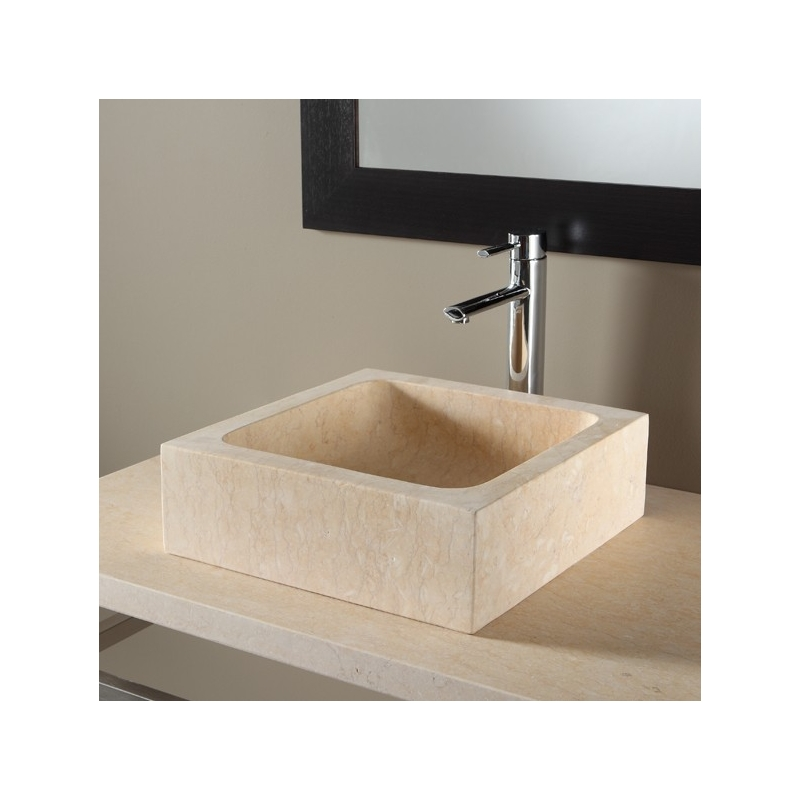 Vasque A Poser Pierre Naturelle Vasques Beige Forme Rectangulaire