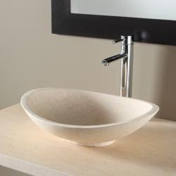 Vasque à poser ovale en pierre naturelle beige