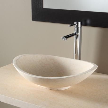 vasque poser ovale en pierre naturelle beige
