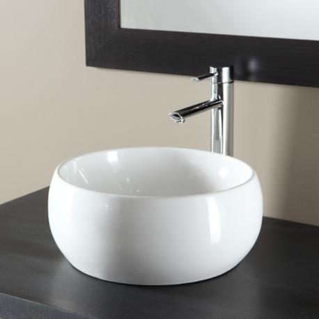 Vasque à poser en bol et porcelaine blanche
