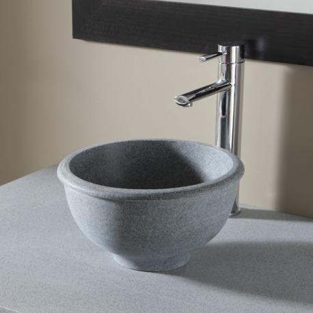 Vasque à poser bol en pierre gris style rétro